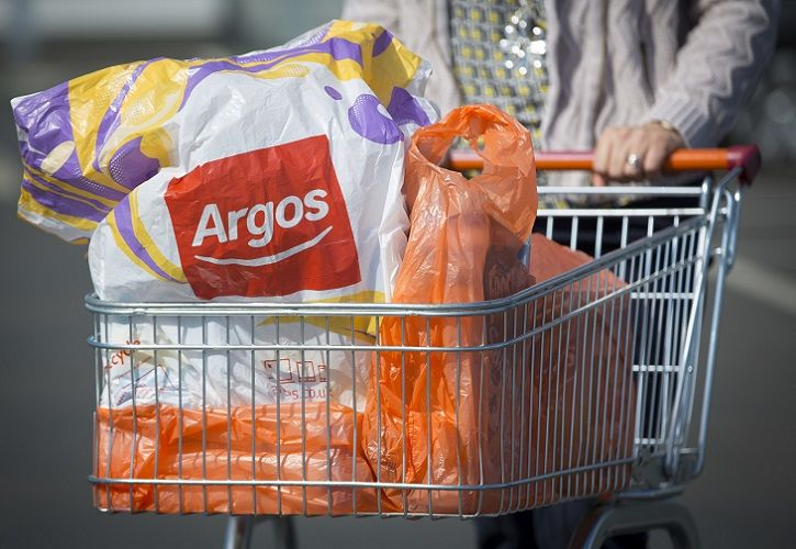 Argos and Sainsbury's bags in Sainsbury's trolley