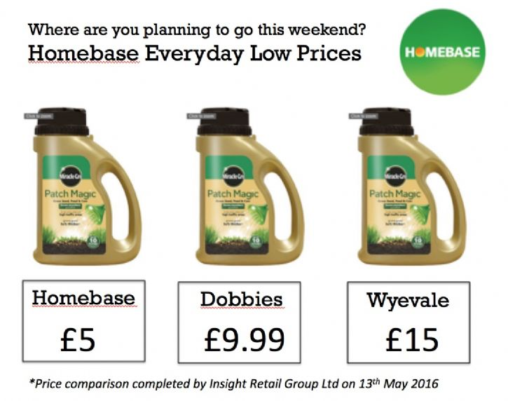 Homebase price comparison advert