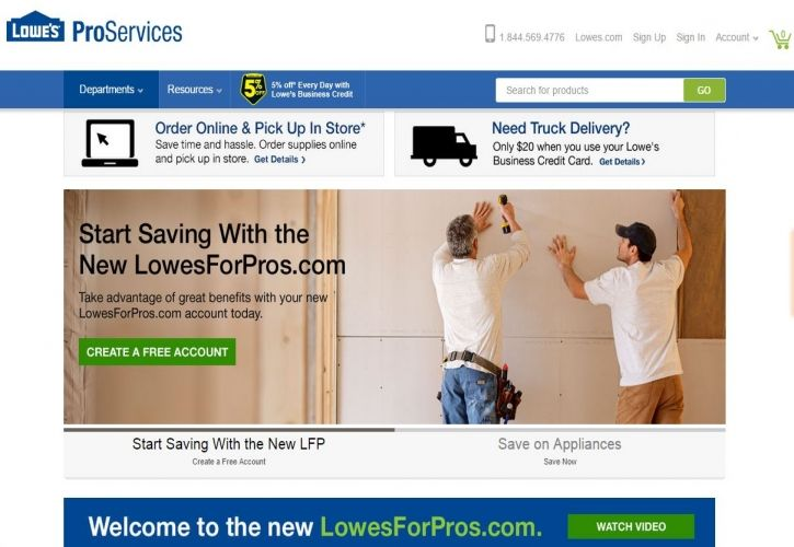 Lowesforpros website