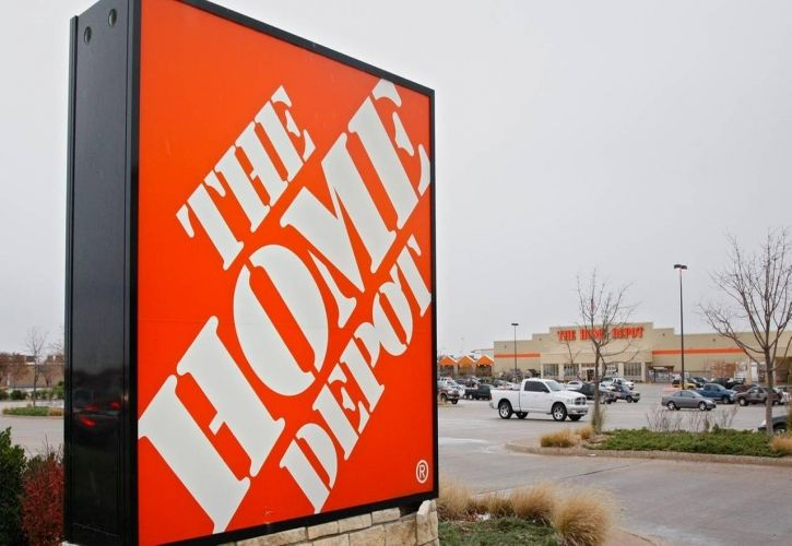 The Home Depot sign and car park