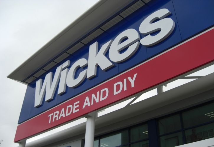 Wickes sign angled