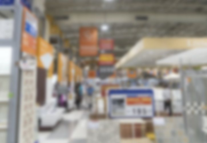DIY store blurred out